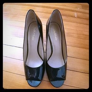 Kelly & Katie Piano Black Peep Toe Stiletto Heels